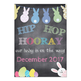 Anúncio da gravidez da páscoa de Hip Hop Hooray Convite 12.7 X 17.78cm