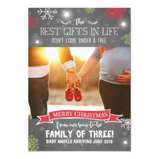 Anúncio da gravidez do Feliz Natal rústico