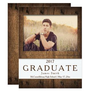 Anúncio de madeira da graduação da foto do celeiro convite 10.79 x 13.97cm