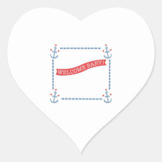 Anúncio do bebê da âncora adesivo coração