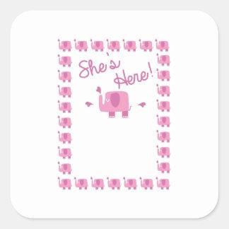 Anúncio do bebê do elefante cor-de-rosa adesivo quadrado