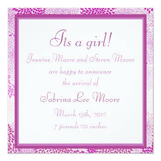 Anúncio do bebê (menina) convite personalizados