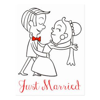 Anúncio do casamento dos noivos do recem casados cartão postal