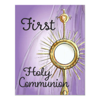 Anúncio do comunhão do roxo primeiro convite 10.79 x 13.97cm