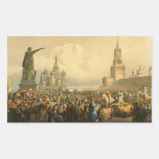 Anúncio do dia da coroação por Vasily Timm 1856 Adesivos Retangular