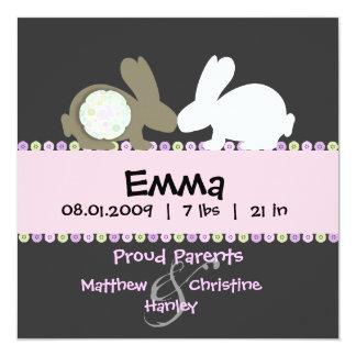 Anúncio do nascimento do amor do coelho convites personalizados