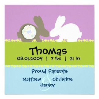 Anúncio do nascimento do amor do coelho convite personalizados