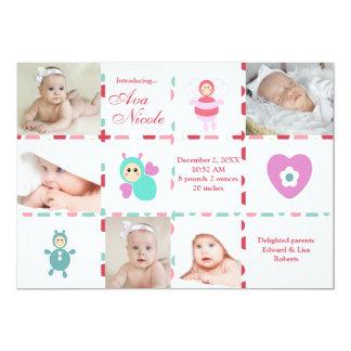 Anúncio do nascimento do gráfico do bebê 9-Photo Convite 12.7 X 17.78cm