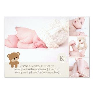 Anúncio do nascimento do modelo da foto do urso de convite 12.7 x 17.78cm