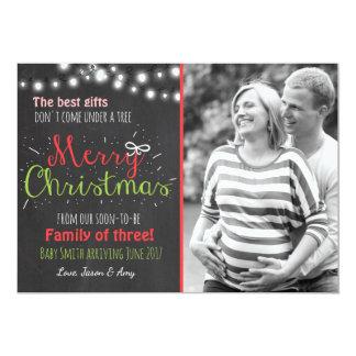 Anúncio do quadro da gravidez do Feliz Natal Convite 12.7 X 17.78cm