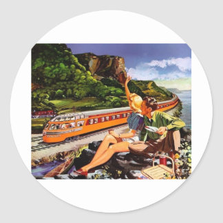 anúncio do trem do vintage adesivos em formato redondos