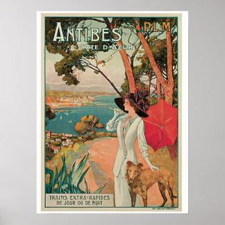 Anúncio do viagem de Antibes France do vintage Pôster