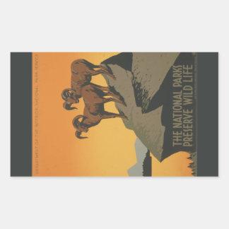 Anúncio do vintage da conserva dos parques naciona adesivos retangular