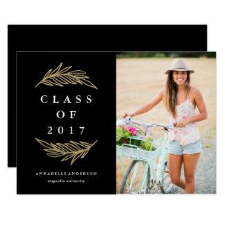 Anúncio dourado da foto da graduação dos louros convite 12.7 x 17.78cm