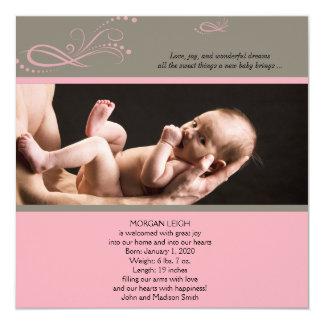Anúncio floral moderno cor-de-rosa do bebê da foto convites