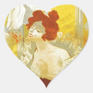 Anúncio francês da mulher do victorian da lingerie adesivo coração