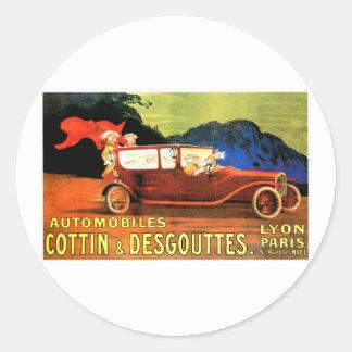 Anúncio francês do carro de motor do vintage do ~ adesivos redondos