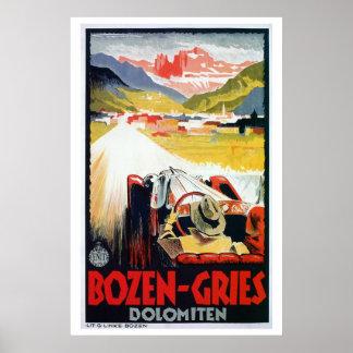 Anúncio italiano do viagem do automóvel de Bozen G Posteres