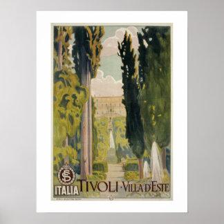 Anúncio italiano Tivoli Lazio Roma do viagem do Poster