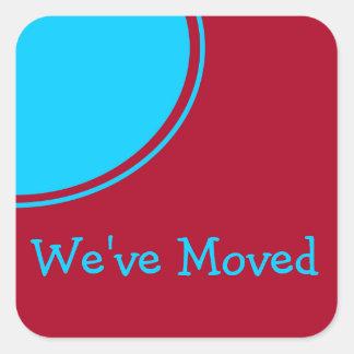 Anúncio movente moderno vermelho de turquesa adesivo quadrado