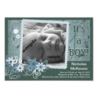 Anúncio novo azul do nascimento do bebé convite 12.7 x 17.78cm