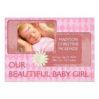 Anúncio novo cor-de-rosa do nascimento do bebé de convite 12.7 x 17.78cm