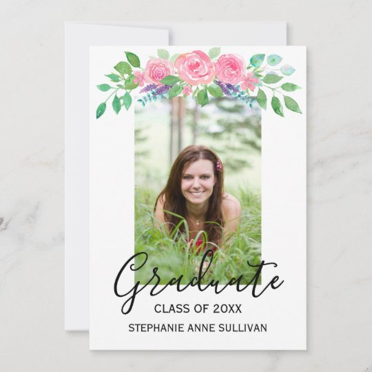 Anúncio Personalizado de Graduação Floral de Fotos
