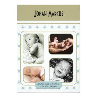 Anúncio retro azul do bebê da foto do canto convite personalizados