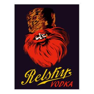 Anúncio retro da vodca do estilo do russo do cartão postal