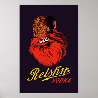 Anúncio retro da vodca do estilo do russo do pôster