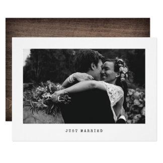 Anúncio simples da foto do casamento do recem
