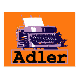 Anúncio sujo antigo da máquina de escrever do cartão postal