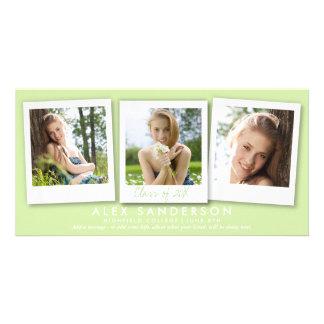 Anúncio triplo verde-claro da graduação da foto