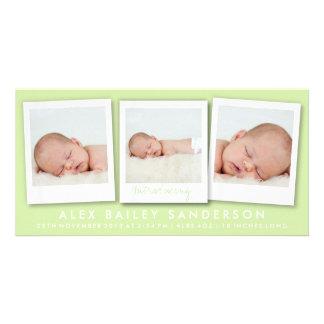 Anúncio verde do nascimento do citrino com 3 fotos