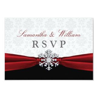 Anúncio vermelho do casamento no inverno RSVP da