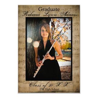 Anúncio w/Photos 3x5 da graduação da partitura Convite 8.89 X 12.7cm