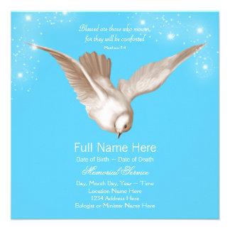 Anúncios da cerimonia comemorativa da pomba do azu convite personalizado