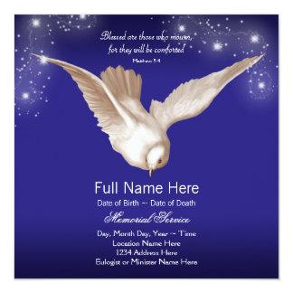 Anúncios da cerimonia comemorativa da pomba do convites personalizados