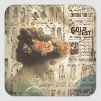 Anúncios da forma da mulher do vintage da arte do  adesivo