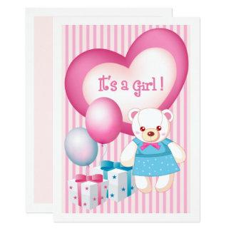 Anúncios do nascimento do bebé do design do urso convite 12.7 x 17.78cm