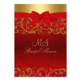 Anúncios vermelhos do redemoinho & do arco do ouro convite 12.7 x 17.78cm