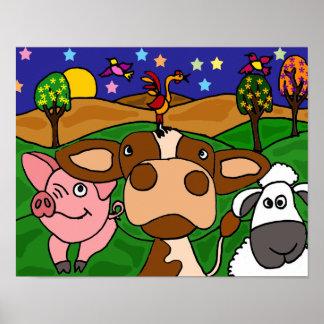 AO poster engraçado dos animais do Barnyard da art