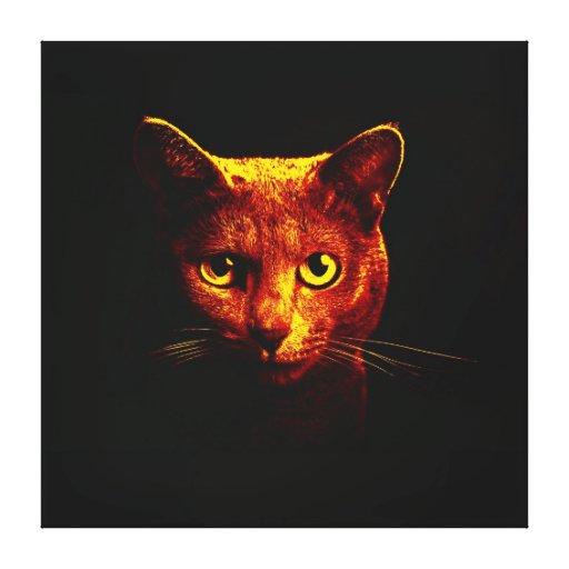 aparência preta do gato da noite impressão em canvas