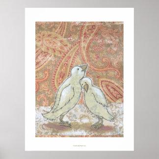 Aperfeiçoe dos pássaros adoráveis do amor do casal pôster