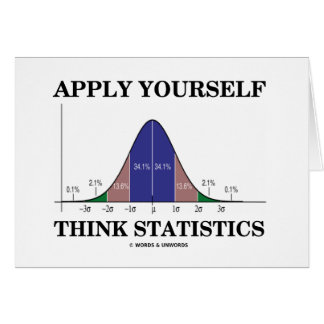 Aplique-se pensam estatísticas (a curva de Bell) Cartao