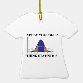 Aplique-se pensam estatísticas (o humor da curva ornamento de cerâmica camiseta