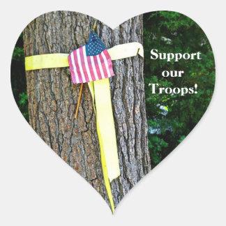 Apoie nossa etiqueta do coração das tropas - fita