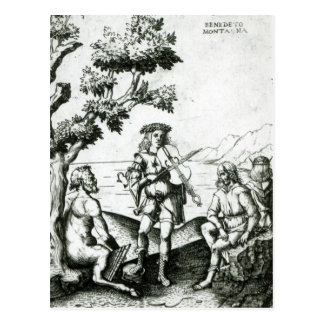 Apollo e bandeja cartão postal