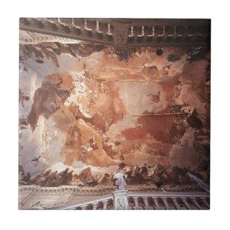 Apollo e os continentes por Giovanni Battista Azulejo Quadrado Pequeno