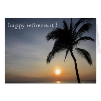 aposentadoria da palma do por do sol cartão comemorativo
